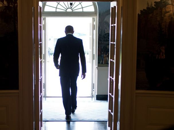 Obama walking out