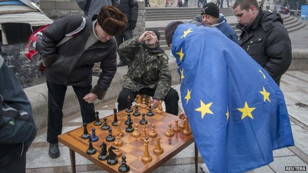 Protesters playing Chess