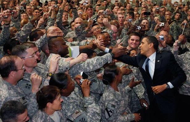 Obama troops shaking hands