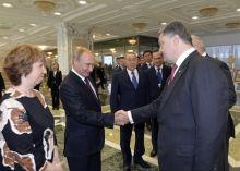 Poutine et Porochenko le 23 août à Minsk  REUTERS POOL