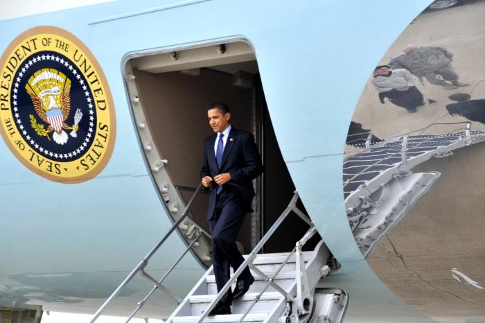President Barack Obama arrives at Sather Air Base
